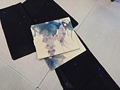 経絽縮緬絞り小紋に葡萄の図染名古屋帯