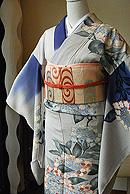 紫陽花の図刺繍単衣訪問着