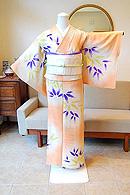 笹の葉ぼかし丸文様夏小紋