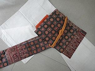 白大島紬、インド更紗名古屋帯