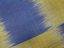 青と鶯色の市松紬
