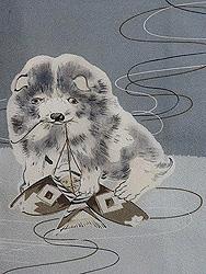 凧と遊ぶ犬の図名古屋帯
