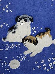 遊ぶ子犬たちの図接ぎ名古屋帯