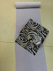 毛万筋着尺に水紋織り袋帯