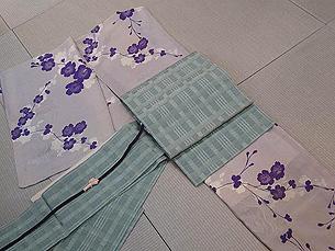 桜のお散歩着に格子織り帯