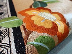 露芝に百花刺繍開き名古屋帯