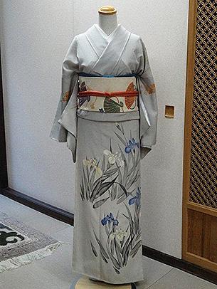 藤と杜若訪問着に波紋に檜扇袋帯