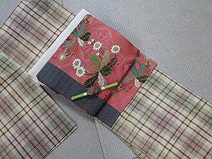 格子郡上紬に波紋にたんぽぽ刺繍名古屋帯