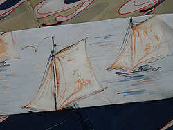 ヨットにカモメと風景の図染帯