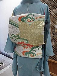 帆船とカモメ紗一つ紋訪問着に波頭に楓文様絽袋帯