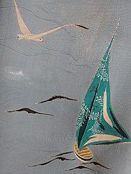 帆船とカモメ紗一つ紋訪問着