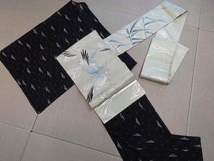 明石縮着物にカモメの刺繍夏名古屋帯