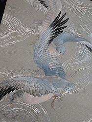 カモメの刺繍夏名古屋帯