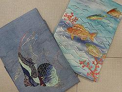 幸せエンジェルたちの名古屋帯と魚たちの海中散歩名古屋帯