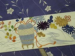 紋錦紗の単衣小紋に虫籠に秋草絽名古屋帯