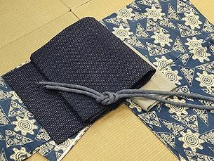 藍型染め綿単衣に越後上布名古屋帯