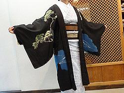 波間に老い松の単衣羽織