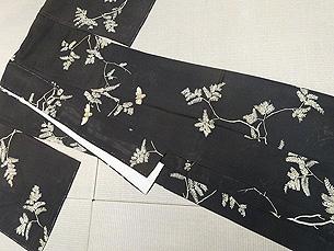モミの木と蝉の絽小紋