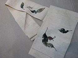 落ち葉にカブトムシ刺繍名古屋帯