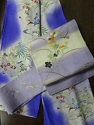 紫暈しに花と虫籠の小紋に野菊にトンボ刺繍名古屋帯