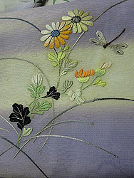 野菊にトンボ刺繍名古屋帯
