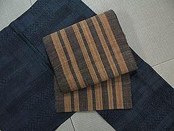 下地恵康作 宮古上布に科布縞の名古屋帯