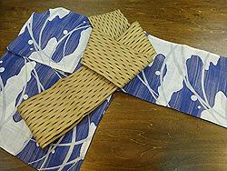 芝とエ霞文麻単衣に芭蕉布雨絣の半幅帯