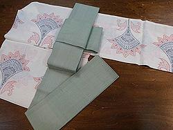 花文様色絣越後上布に夏素材の半巾帯
