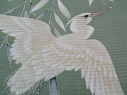 深川鼠色柳に白鷺絽名古屋帯