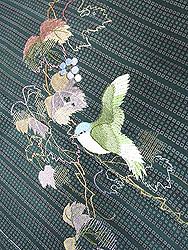 葡萄と小鳥刺繍お散歩着