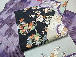 梅紅葉の刺繍名古屋帯