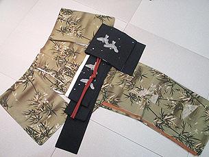 竹に扇面お散歩着に黒地雪に雀刺繍名古屋帯