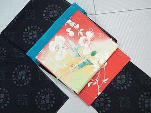 花紋絣結城縮にケシにスイトピ―染名古屋帯