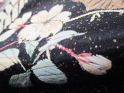 黒地に桜と雉の刺繍名古屋帯