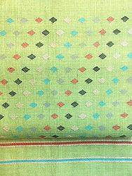 黄緑地菱文様紋織名古屋帯