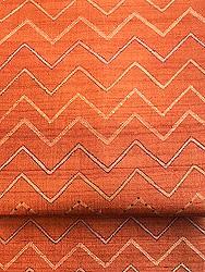 オレンジ幾何学模様カンタワーク名古屋帯