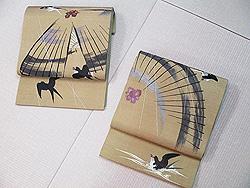 番傘につばめ刺繍開き名古屋帯