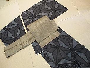 変り織麻の葉模様宮古上布に芭蕉布名古屋帯