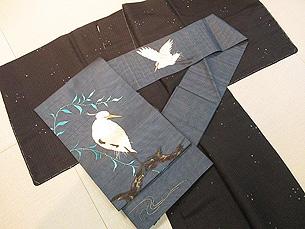 明石縮の小紋に白鷺の刺繍名古屋帯