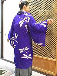 紫地トンボ単衣羽織