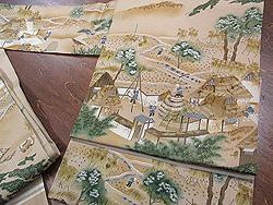 稲の刈入れ風景染名古屋帯
