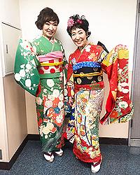 清水ミチコさんと森山良子さんに振袖をご着用頂きました。