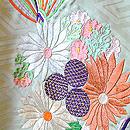 鶸色花くす玉刺繍綸子振袖