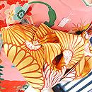四季の花に檜扇文様錦紗振袖