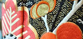 松竹梅扇面祝いの図刺繍振袖