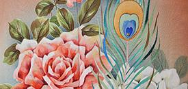 薔薇に孔雀の羽根文様振袖