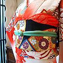 橘牡丹に檜扇刺繍振袖