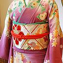 桜草に万寿菊錦紗振袖