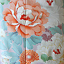 万寿菊に牡丹文様錦紗振袖