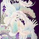 芍薬に孔雀の図青地振袖